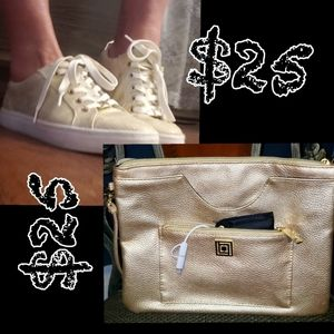 Liz Claiborne shoes &Liz clutch w/ Apple charge b